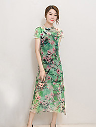 Women's Vintage Floral A Line Dress,Stand Midi Polyester