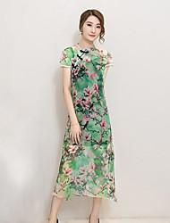 De las mujeres Gasa Vestido Vintage Floral Midi Escote Chino Poliéster