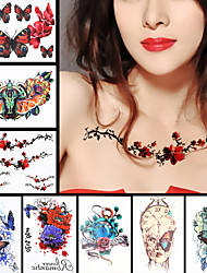 8PCS Rose Leaf Flower Butterfly Shoulder Back Waterproof Tattoo Women Men Body Art Temporary Tattoo Sticker Design