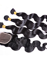 Grade 6A 3PCS Brazilian Virgin Hair With Lace Closure Body Wave Total 4Pcs/Lot For A Full Head