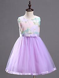 Girl's Purple Mesh Patchwork Print Dress,Print Cotton / Polyester Summer