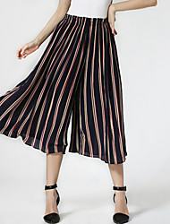 Women's Striped Blue / Pink / Gray Wide Leg Pants,Casual / Day / Holiday Elastic Waist High Waist Fashion Thin Polyester