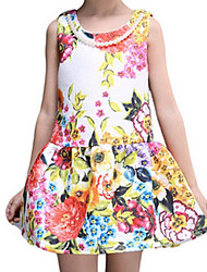 Girl's White Dress,Floral Cotton Spring / Fall
