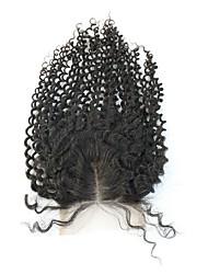 cabelo brasileiro excêntricas encaracolados 3.5x4 polegadas suíços encerramentos de renda parte do meio de fecho parte livre