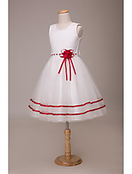 Ball Gown Short / Mini Flower Girl Dress - Satin Tulle Jewel with Flower(s) Sash / Ribbon