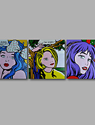 "Stretched (ready to hang) Hand-Painted Oil Painting 72""x24"" Canvas Wall Art Modern Pop Art Girls Lady"