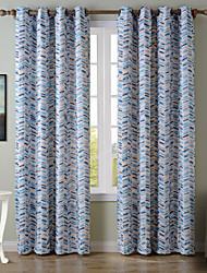 Chadmade SOFITEL Contemporary Heat Tranfer Print Colorful Dash Herringbone Pattern - Lined Curtain -Blue