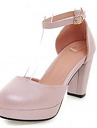 Women's Shoes Leatherette Chunky Heel Heels Heels Office & Career / Party & Evening / Dress Blue / Pink / White / Beige