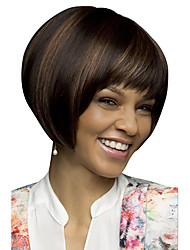 Women 8 inch Bobo Short Straight Synthetic Hair Wigs Full Bang Dark Brown with Free Hair Net
