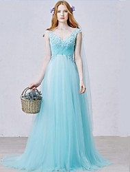 Prom Formal Evening Dress - Open Back Sheath / Column V-neck Sweep / Brush Train Tulle with Appliques Beading