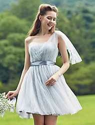 Short / Mini Tulle Bridesmaid Dress A-line Sweetheart with Sash / Ribbon