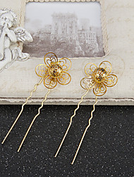 Women's / Flower Girl's Alloy Headpiece-Wedding / Special Occasion Hair Pin 2 Pieces