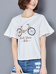 Vrouwen Print T-shirt Ronde hals,Korte mouw,Nylon
