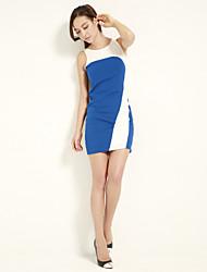 JOANNE KITTEN Women's Sexy / Cute Color Block Bodycon Dress, Crew Neck Above Knee Polyester / Spandex