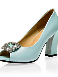Women's Shoes Chunky Heel Peep Toe / Open Toe Sandals Party & Evening / Dress / Casual Blue / Pink / White