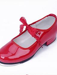 Chaussures de danse(Rouge) -Non Personnalisables-Talon Bas-Similicuir-Claquettes
