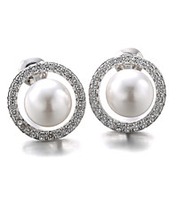 Stud Earrings Pearl Imitation Pearl Zircon Cubic Zirconia Platinum Plated Fashion White Black Jewelry 2pcs