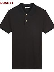 Trenduality® Hommes Col de Chemise Manche Courtes T-shirt Noir / Blanc / Gris-63015