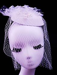 Mujer Diamantes Sintéticos Tul Perla Artificial Franela de Algodón Red Celada-Boda Ocasión especial Casual Al Aire Libre Tocados 1 Pieza