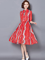 Women's Street chic Print A Line / Chiffon Dress,Stand Knee-length