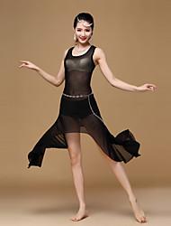 Belly Dance Dresses Women's Training Spandex Draped 1 Piece Black / Black And Silver / Fuchsia / Orange / Red / Lilac
