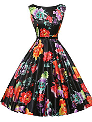 Women's Vintage A Line / Skater Dress,Floral Round Neck Knee-length Sleeveless Black Polyester Summer Mid Rise