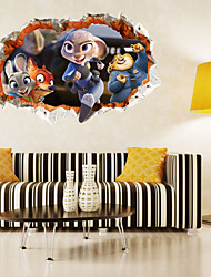 3D Wall Stickers Wall Decals, Fashion Cartoon Animal City PVC Wall Sticker