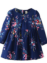 Floral Ruched Crew Neck Long Sleeve Dress For Girls