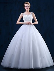 Ball Gown Wedding Dress Floor-length Scoop Tulle with Appliques
