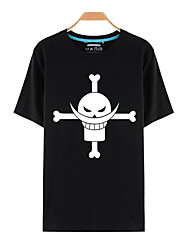 Inspiriert von One Piece Monkey D. Luffy Anime Cosplay Kostüme Cosplay-T-Shirt Druck Schwarz Kurze Ärmel Top / T-Shirt-Ärmel