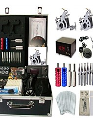 Basekey Tattoo Kit K0052 2Guns Machine With Power Supply Grips Cleaning Brush Needles