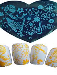 1pcs Nagelkunst herzförmigen Schablone Mädchen schöne aminal Musik Stanzen note Arten von Image-Design Nagelkunstwerkzeuge 01-05