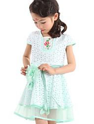 Girl's Green / Pink / Yellow Dress Cotton / Polyester Summer