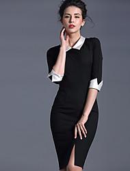 Baoyan® Femme Col Rond Claudine Manches 1/2 Au dessus des genoux Robes-14492