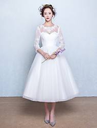 A-line Wedding Dress-Ivory Tea-length Jewel Lace / Tulle