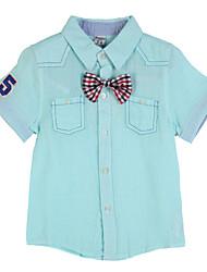 Katoen-Zomer-Boy's-Overhemd-Kleurenblok