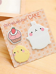 Fat Rabbit Pattern Self-Stick Note Set(1 PCS Random Color)