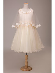 LAN TING BRIDE Ball Gown Short / Mini Flower Girl Dress - Lace Tulle Jewel with Bow(s) Flower(s) Sash / Ribbon