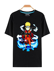 Inspired by Naruto Naruto Uzumaki Anime Cosplay Costumes Cosplay T-shirt Print Black Short Sleeve Top