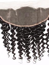 8-20inch Черный Лента спереди / Изготовлено вручную Крупные кудри Человеческие волосы закрытие Светло-коричневый Швейцарское кружево