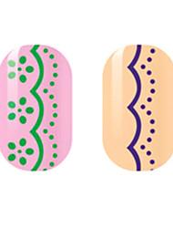 зеленый / фиолетовый полые наклейки для ногтей