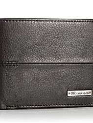 New Men's Women Genuine Leather Bi-Fold Wallet Black