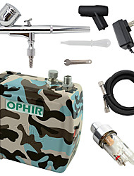 OPHIR Camouflage 0.3mm Dual-Action Airbrush Air Compressor Kit for Cake Decoration Body Paint Hobby