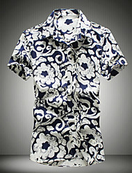Men's Print Casual Shirt,Cotton Short Sleeve