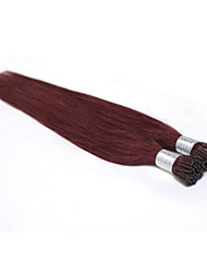 "Top Quality 100% Human  Prebonded Brazilian Hair Extensions I Tip #99J Dark Wine Straight  100g/lot  18""-24"""