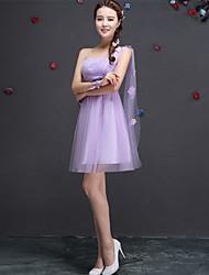 Short / Mini Lace / Tulle Bridesmaid Dress A-line One Shoulder with Appliques