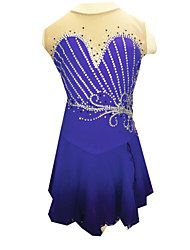 Robe de Patinage Femme Sans manche Patinage Robes Robe de patinage artistique Elasthanne Violet Tenue de Patinage Vêtements de Plein Air