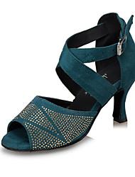 Zapatos de baile(Negro / Azul / Leopardo) -Latino / Samba-Personalizables-Tacón Stiletto