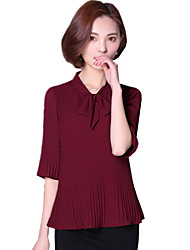Summer Women's Fashion Pleated Bow Collar Trumpet 1/2 Sleeves Formal Chiffon Shirt Blouse Tops