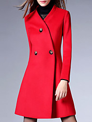 Women's Coat,Solid Stand Long Sleeve Winter Red / Black Wool / Others Thick